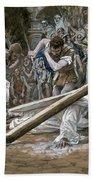 Christ Falls Beneath The Cross Beach Towel by Tissot