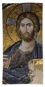 Christ Holds Bible In Mosaic At Chora Church Istanbul Turkey Beach Towel