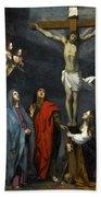 Christ On The Cross With Saint John And Mary Magdalene Beach Towel