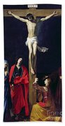 Christ On The Cross With The Virgin Mary Magdalene St John And St Francis Of Paola Beach Towel by Nicolas Tournier