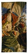 Christ On The Sea Of Galilee Beach Towel by Jack Hayes