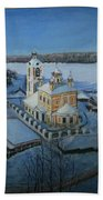 Christ Risen Church In Ples, Ivanovo Region Beach Towel