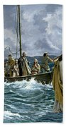 Christ Walking On The Sea Of Galilee Beach Towel by Anonymous