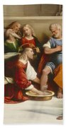 Christ Washing The Disciples' Feet Beach Sheet