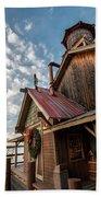 Christmas Barn On The Lake Beach Towel