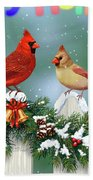 Christmas Birds And Garland Beach Towel by Crista Forest