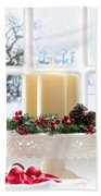 Christmas Candles Display Beach Towel by Amanda Elwell
