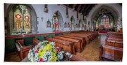 Christmas Church Flowers Beach Towel