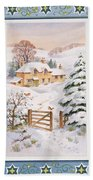Christmas Cottage Beach Towel