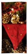 Christmas Decorations Of Garlands And Pine Cones Beach Towel