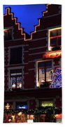 Christmas Decorations On Buildings In Bruges City Beach Towel