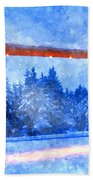 Christmas In The Mountains Beach Towel