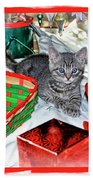 Christmas Kitten  Beach Towel