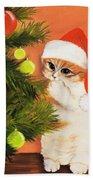 Christmas Kitty Beach Towel by Anastasiya Malakhova