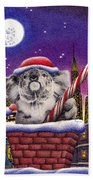 Christmas Koala In Chimney Beach Towel
