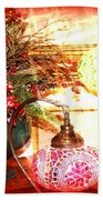 Christmas Lamps Beach Towel