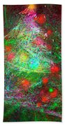 Christmas Lights And Tree Beach Towel by Russell Kightley