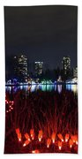 Christmas Lights At Lafarge Lake In City Of Coquitlam Beach Sheet