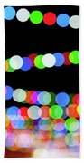 Christmas Lights Bokeh Blur Beach Towel