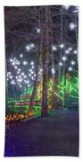 Christmas Lights Decoration Along Lafarge Lake Path Beach Towel