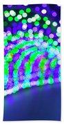 Christmas Lights Decoration Blurred Defocused Bokeh Beach Towel
