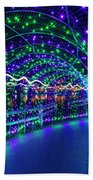 Christmas Lights In Tunnel At Lafarge Lake Beach Towel