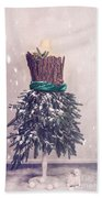 Christmas Mannequin Dressed In Fir Branches Beach Sheet