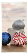 Christmas Ornaments On The Beach Beach Towel