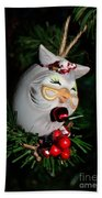 Christmas Owl Beach Towel