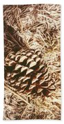 Christmas Pinecone On Barn Floor Beach Towel