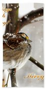 Christmas Sparrow - Christmas Card Beach Towel