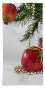 Christmas Tree Branch And Decoration In A Vase Beach Towel