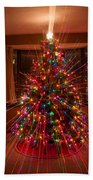 Christmas Tree Light Spikes Colorful Abstract Beach Sheet