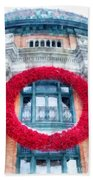 Christmas Wreath Old Quebec City Beach Towel