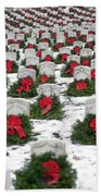 Christmas Wreaths Adorn Headstones Beach Towel
