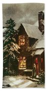Church And Cottage With Lighted Windows Beach Towel