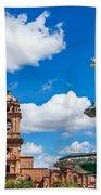 Church And Fountain In Cusco Peru Beach Towel