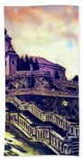 Church Dominant With Decorative Historical Staircase, Graphic Work From Painting. Beach Towel