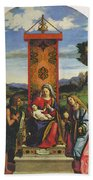 Cima Da Conegliano The Madonna And Child With St John The Baptist And Mary Magdalen Beach Towel