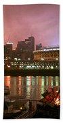 Red Sunset Sky In Cincinnati Ohio Beach Towel
