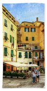 Cinque Terre - Vernazza Main Street - Vintage Version Beach Towel