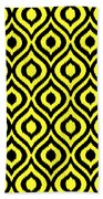 Circle And Oval Ikat In Black N05-p0100 Beach Towel
