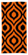 Circle And Oval Ikat In Black T03-p0100 Beach Towel
