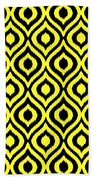 Circle And Oval Ikat In Black T05-p0100 Beach Towel