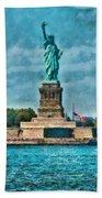 City - Ny - The Statue Of Liberty Beach Towel