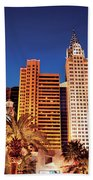 City - Vegas - Ny - The New York Hotel Beach Towel