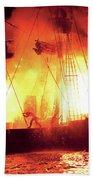 City - Vegas - Treasure Island - Explosion Abandon Ship Beach Towel