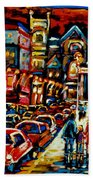 City At Night Downtown Montreal Beach Towel