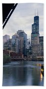 City At The Waterfront, Chicago River Beach Towel