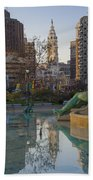 City Hall Reflecting In Swann Fountain Beach Towel